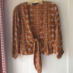 TOPSHOP Tie Front Blouse/Jacket